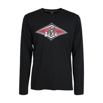 BEAR SURFBOARDS T-SHIRT LOGO MANICA LUNGA NIGHT BLACK