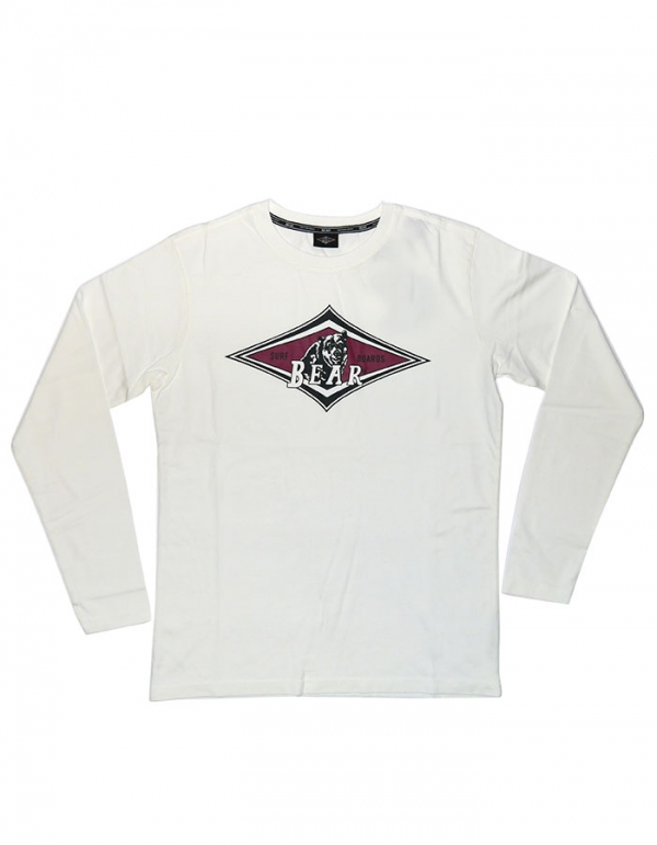 BEAR SURFBOARDS T-SHIRT LOGO MANICA LUNGA WHITE