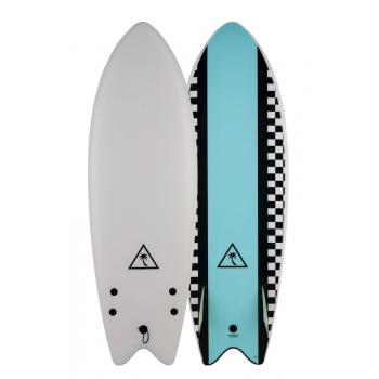 """CATCH SURF RETRO FISH TWIN FIN 5'6"""" WHITE LIGHT BLUE SOFTBOARD"""