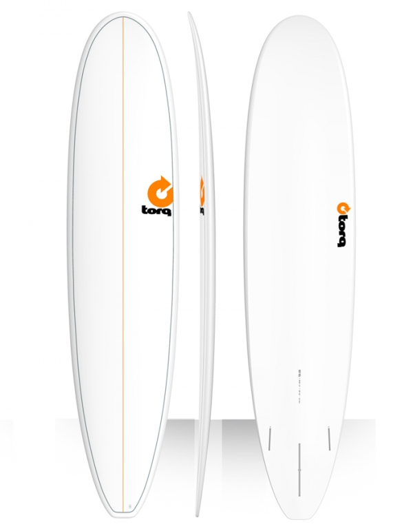 "TORQ TET PLAIN 8'6"" LONG WHITE MALIBU PINLINE"