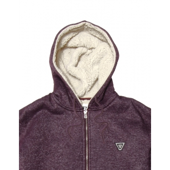 VISSLA THE TRIP SHERPA ZIP FELPA CON CAPPUCCIO E ZIP BURGUNDY HEATHER